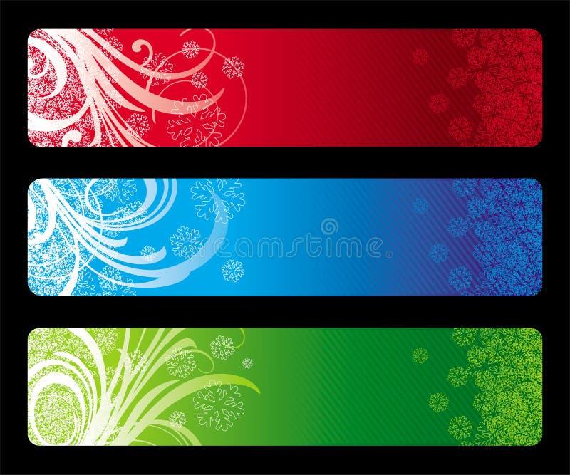 Drie banners van Kerstmis vector illustratie