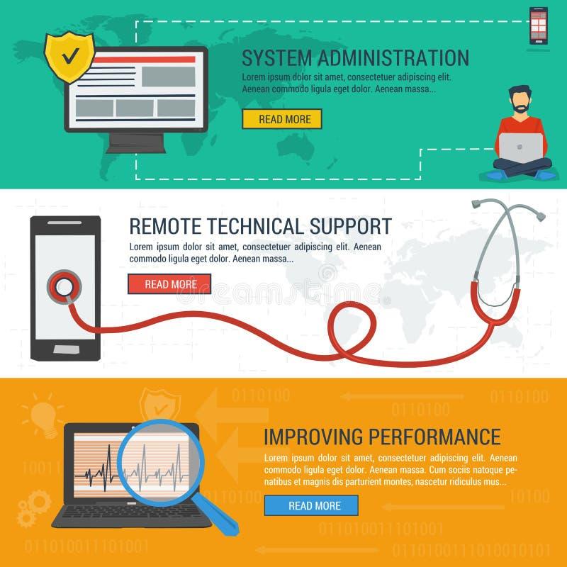 Drie banners - Verre Technische ondersteuning stock illustratie