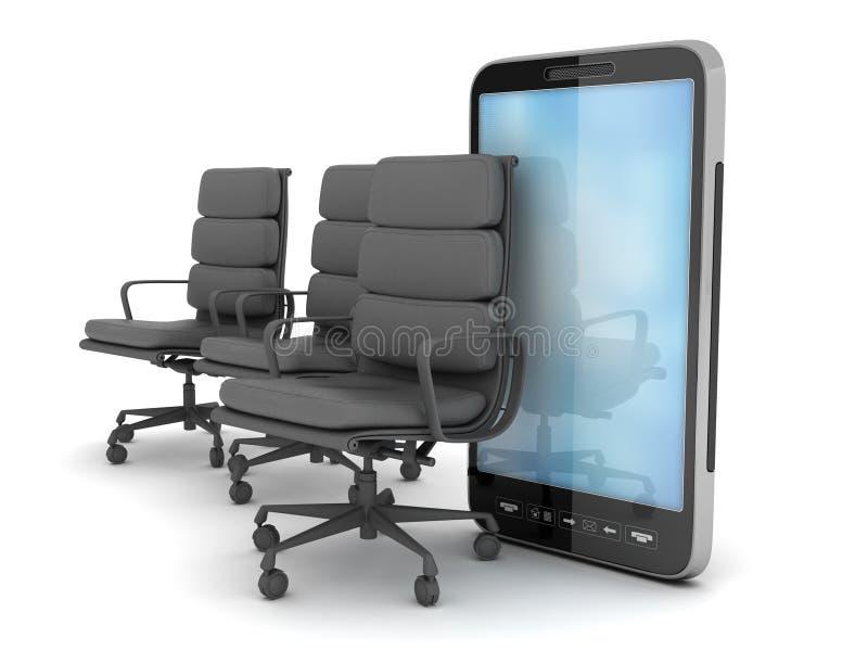 Drie bedrijfsstoelen en celtelefoon stock illustratie
