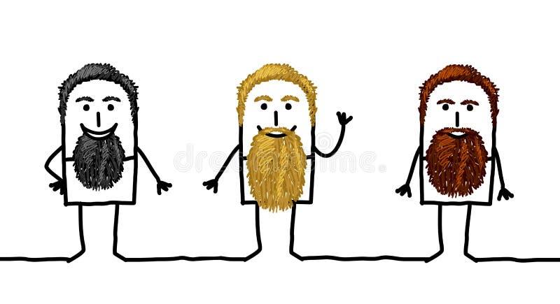 Drie Beeldverhaal Gebaarde Mensen royalty-vrije illustratie