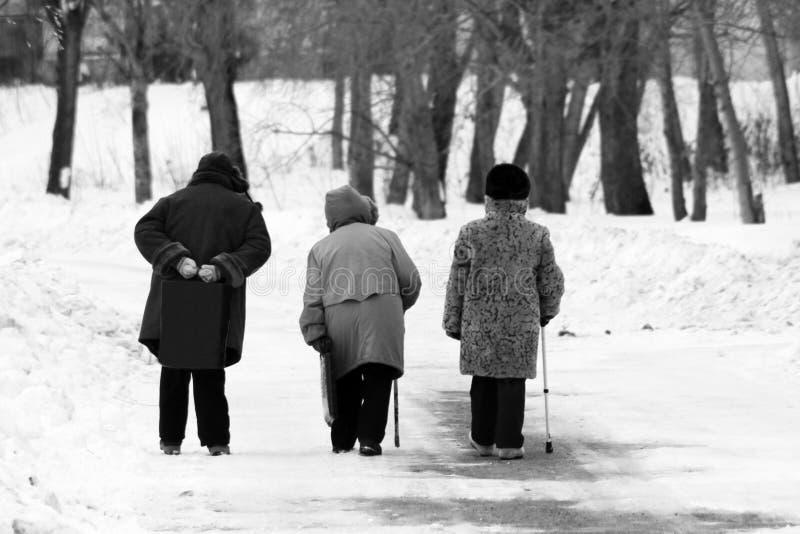 Drie bejaarden die langs de Weg in de winter lopen stock afbeelding