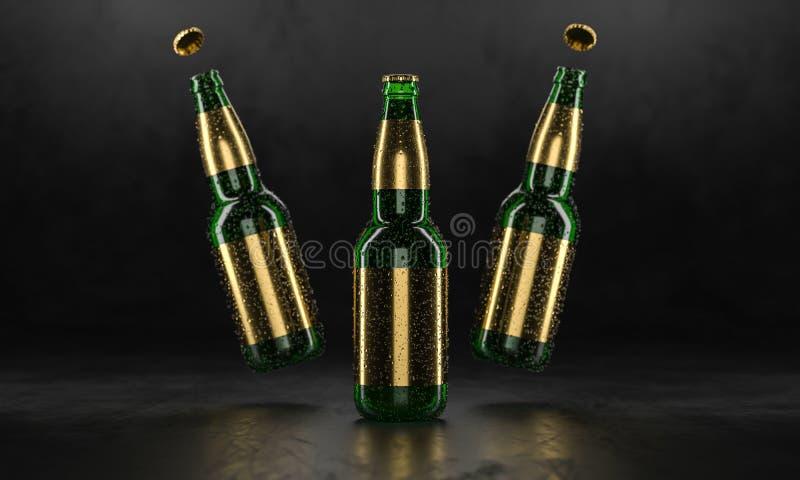 Drie bierflessen die zich op een rustieke zwarte lijst bevinden Bierspot omhoog De natte bierflessen withgolden etiketten en wate vector illustratie