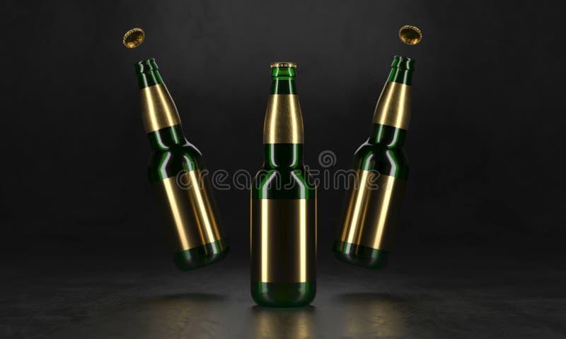 Drie bierflessen die zich op een rustieke zwarte lijst bevinden Bierspot omhoog De natte bierflessen withgolden etiketten en wate stock illustratie