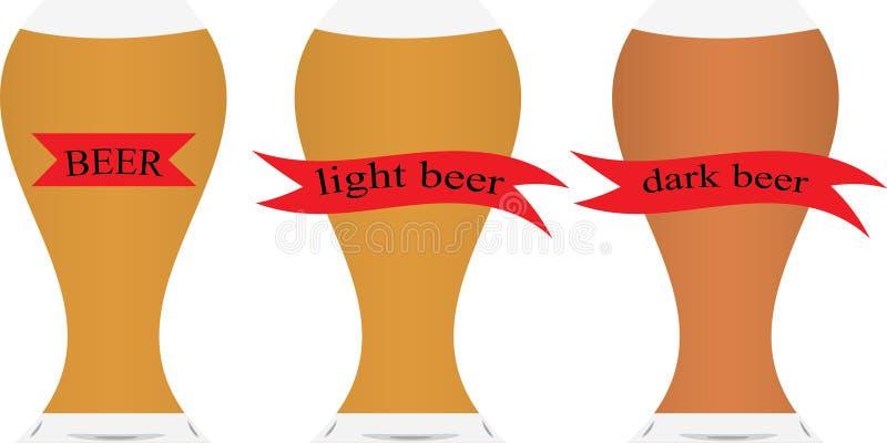 Drie bierglazen met bier stock illustratie