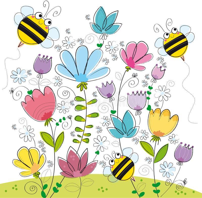 Drie bijen stock illustratie