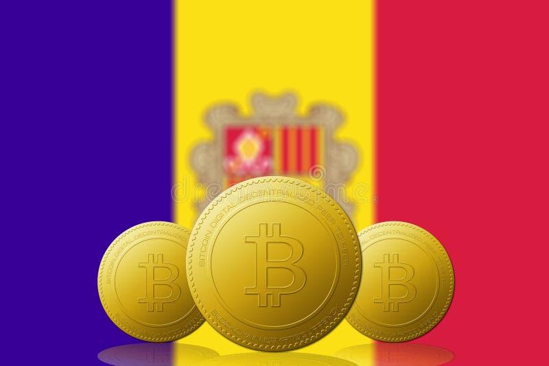 Drie Bitcoins cryptocurrency met de vlag van ANDORRA op achtergrond vector illustratie