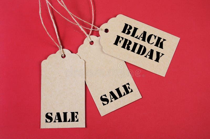 Drie Black Friday-Verkoopmarkeringen stock fotografie