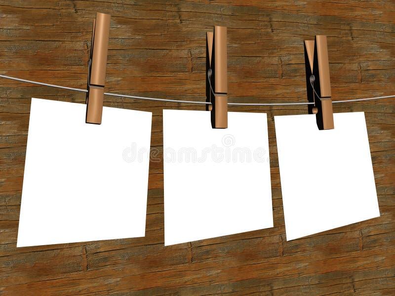 Drie bladen die van het document, op een koord hangen. royalty-vrije illustratie
