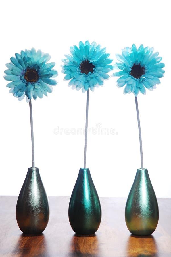 Drie blauwe bloemen stock afbeeldingen