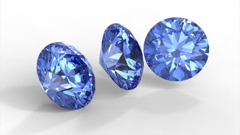 Drie blauwe diamanten stock illustratie