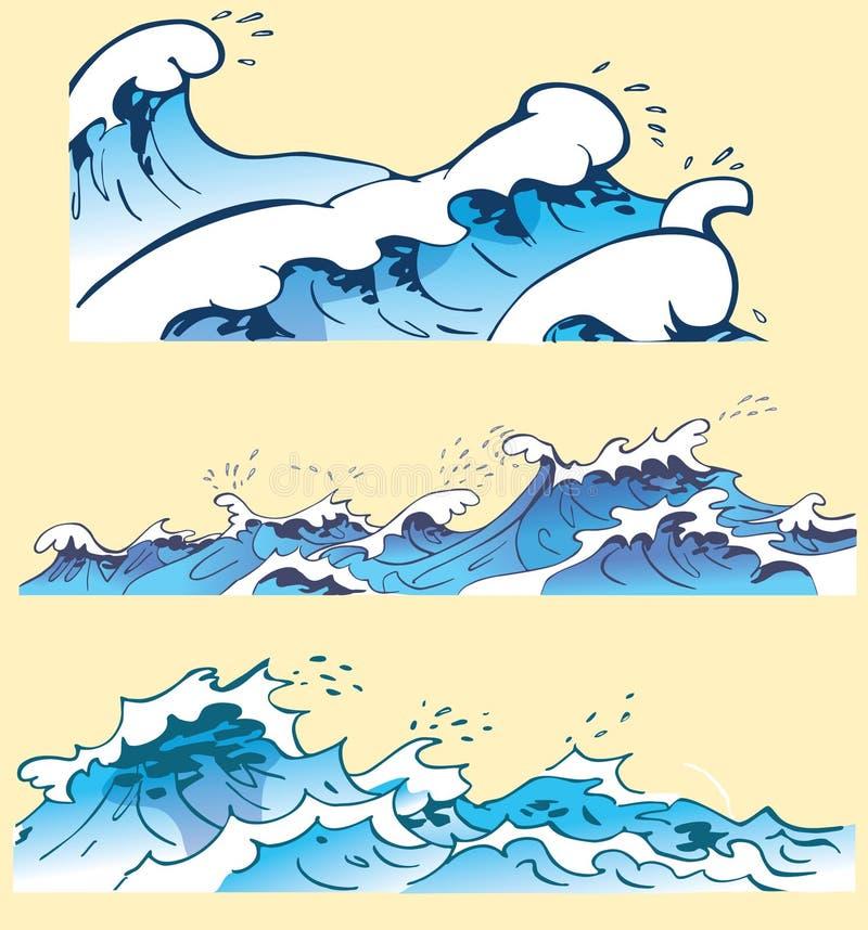 Drie blauwe oceaangolven stock afbeelding