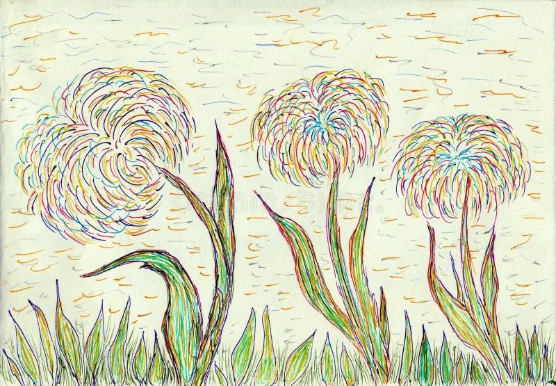 Drie bloemen op een weide royalty-vrije stock afbeeldingen