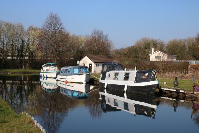 Drie boten op het kanaal van Lancaster in Tewitfield stock fotografie
