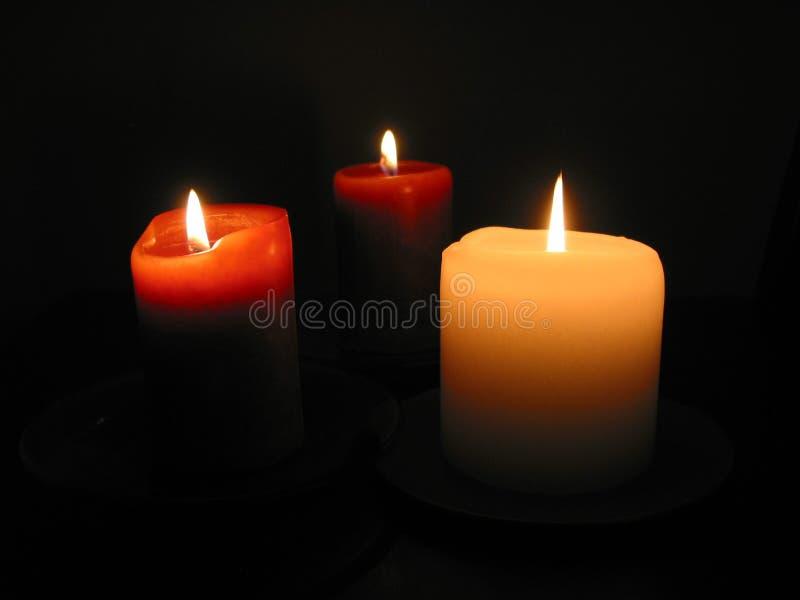 Drie brandende kaarsen 1 royalty-vrije stock foto