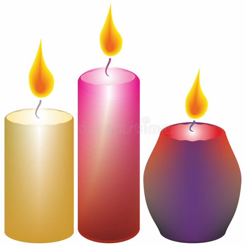 Drie brandende kaarsen op een witte achtergrond stock fotografie