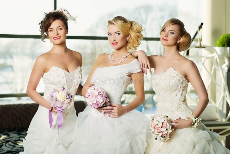 Drie bruiden royalty-vrije stock foto