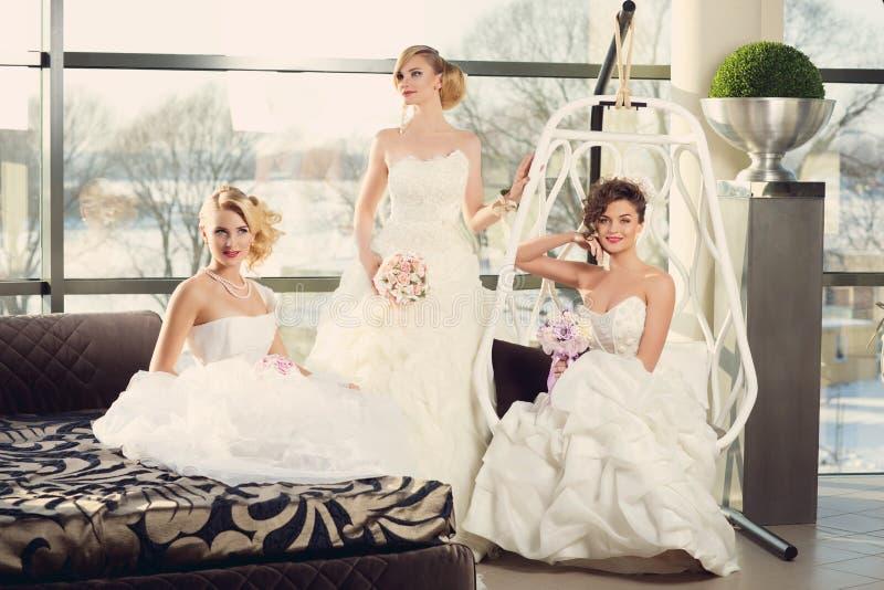 Drie bruiden royalty-vrije stock foto's