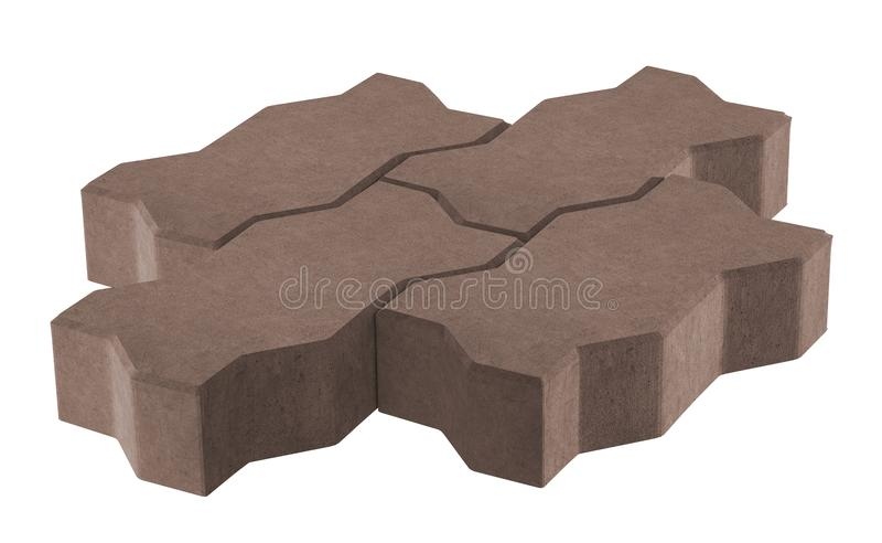 drie bruine slot het bedekken bakstenen Geïsoleerdj op witte achtergrond stock illustratie