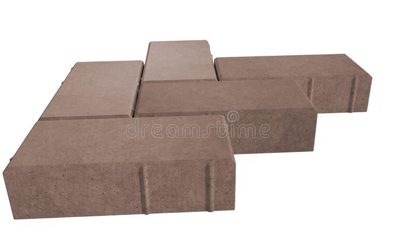 drie bruine slot het bedekken bakstenen Geïsoleerdj op witte achtergrond royalty-vrije illustratie