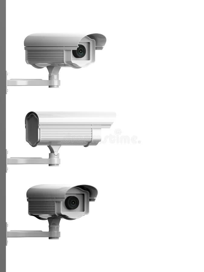 Drie camera's zijaanzicht van het veiligheidstoezicht vector illustratie