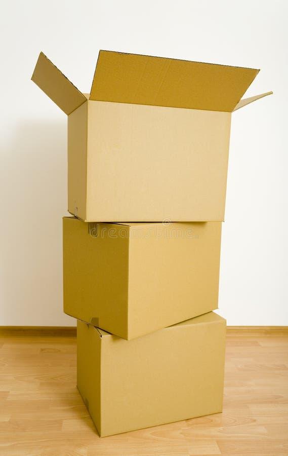 Drie cardboards royalty-vrije stock fotografie