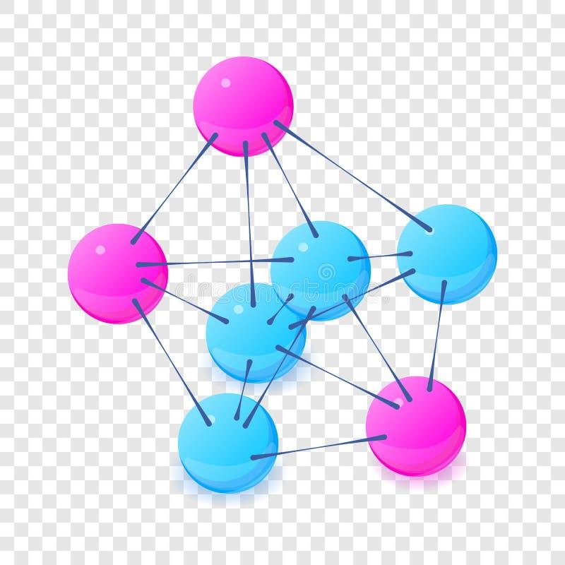Drie-centrum moleculepictogram, isometrische 3d stijl vector illustratie