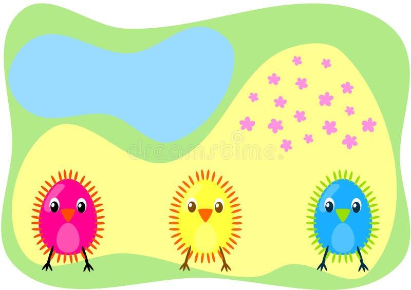 Drie chiks op een gebiedskaart royalty-vrije illustratie