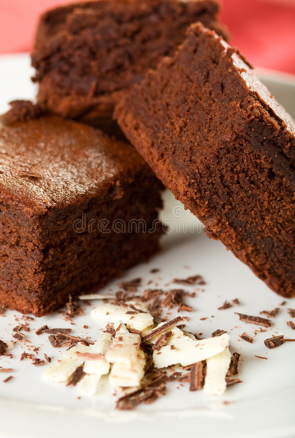 Drie Chocolade Brownies stock afbeelding