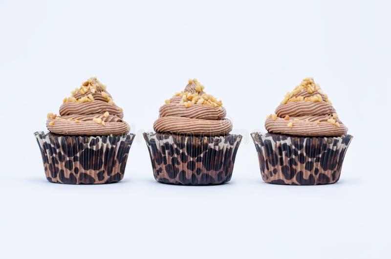Drie Chocolade Cupcakes stock foto