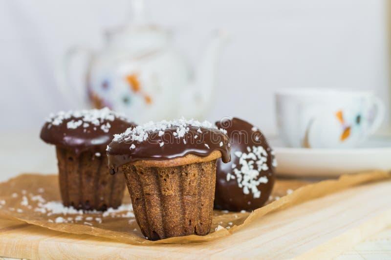 Drie chocoladecake royalty-vrije stock fotografie