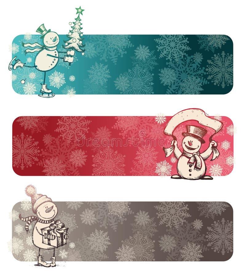 Drie chrismasbanners met snowmans stock illustratie
