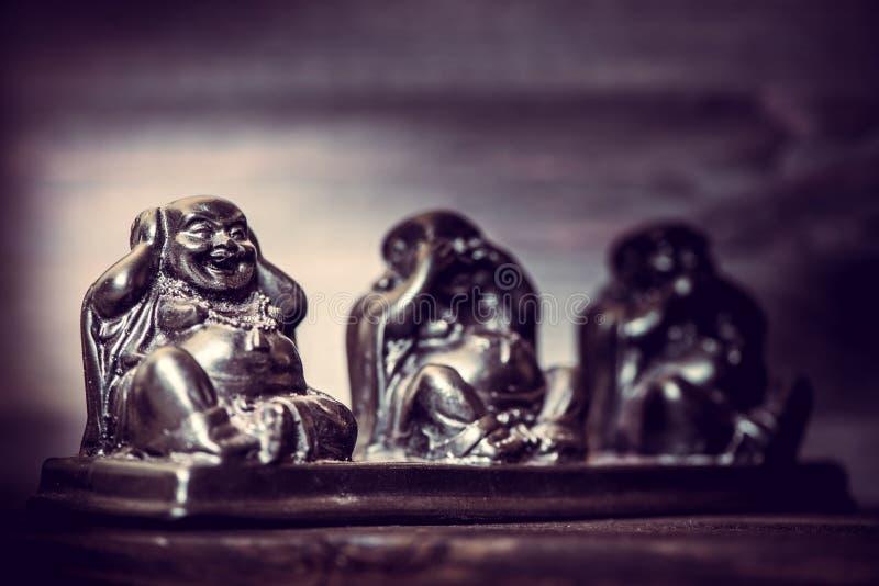 Drie cijfers van Buddah-filosofie stock afbeelding