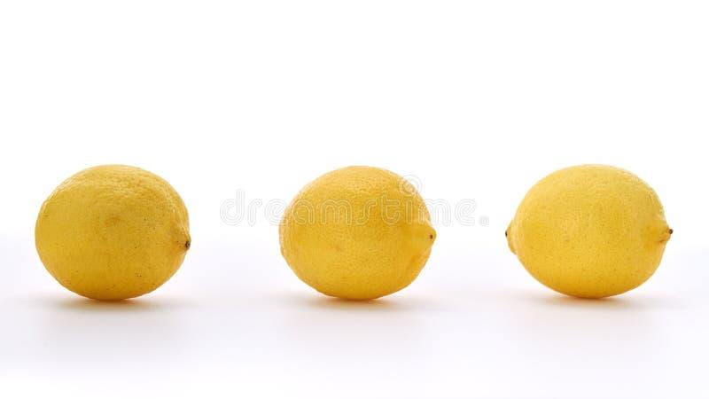 Drie citroenen die op witte achtergrond worden geïsoleerd royalty-vrije stock afbeelding