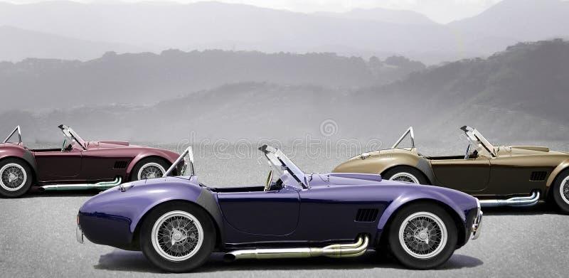 Drie convertibele sportwagens royalty-vrije stock afbeeldingen