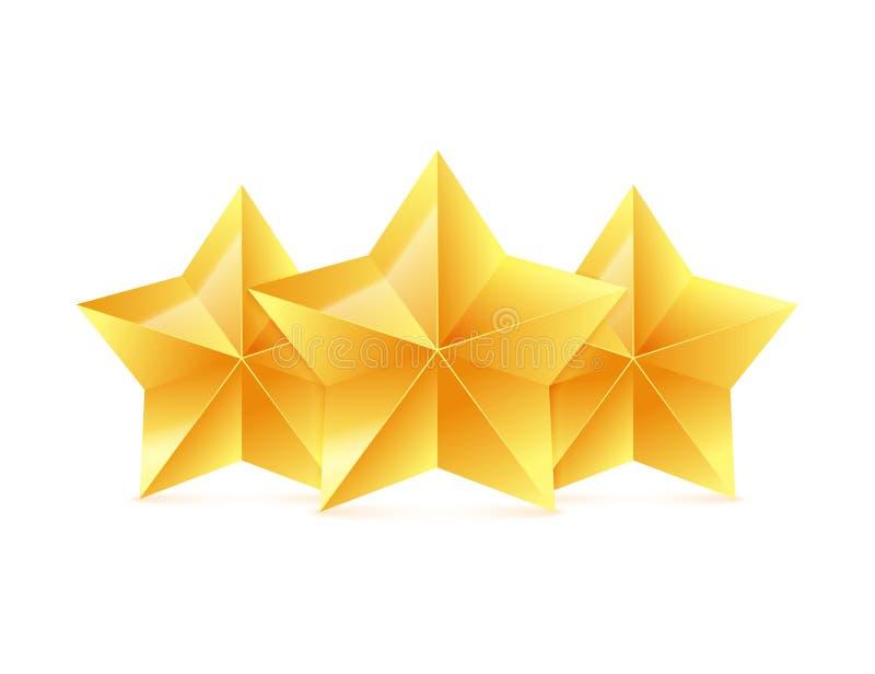Drie 3D gouden sterren op witte achtergrond Overwinningstoekenning Vector illustratie vector illustratie