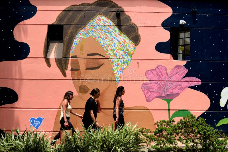 Drie dames die voorbij een kleurrijke muurschildering in Colombia lopen stock foto's