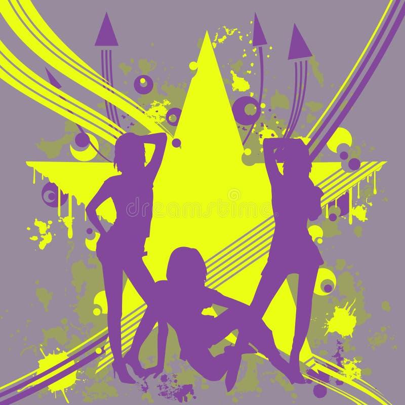Drie dansende meisjes royalty-vrije illustratie