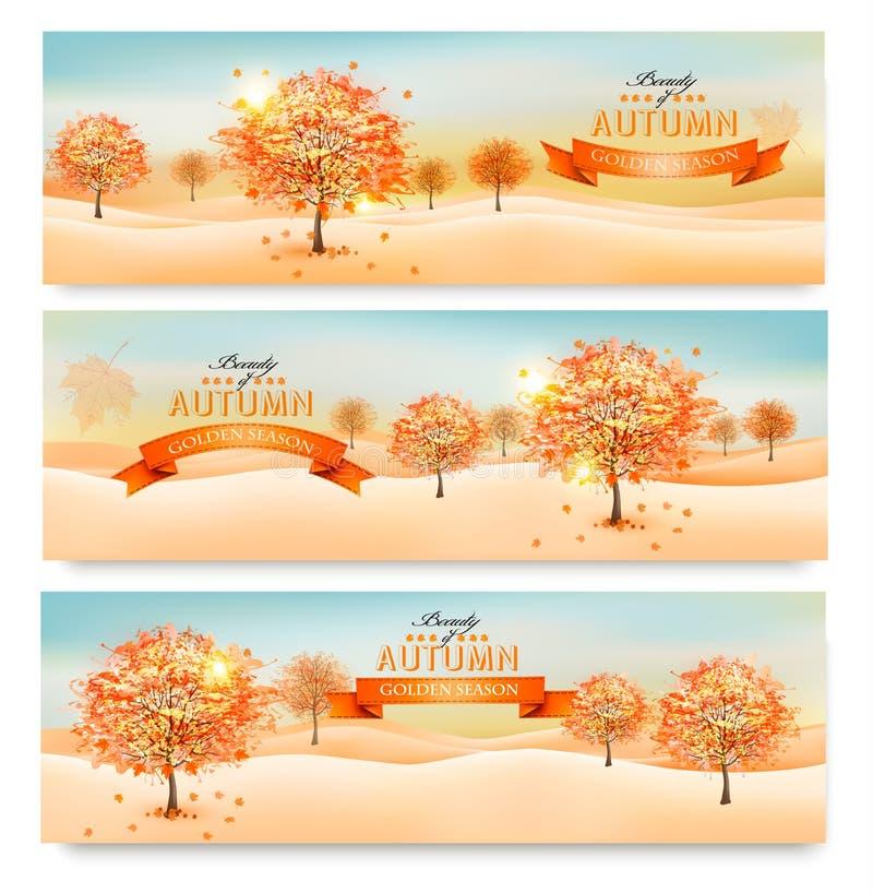 Drie de herfst abstracte banners met kleurrijke bladeren vector illustratie