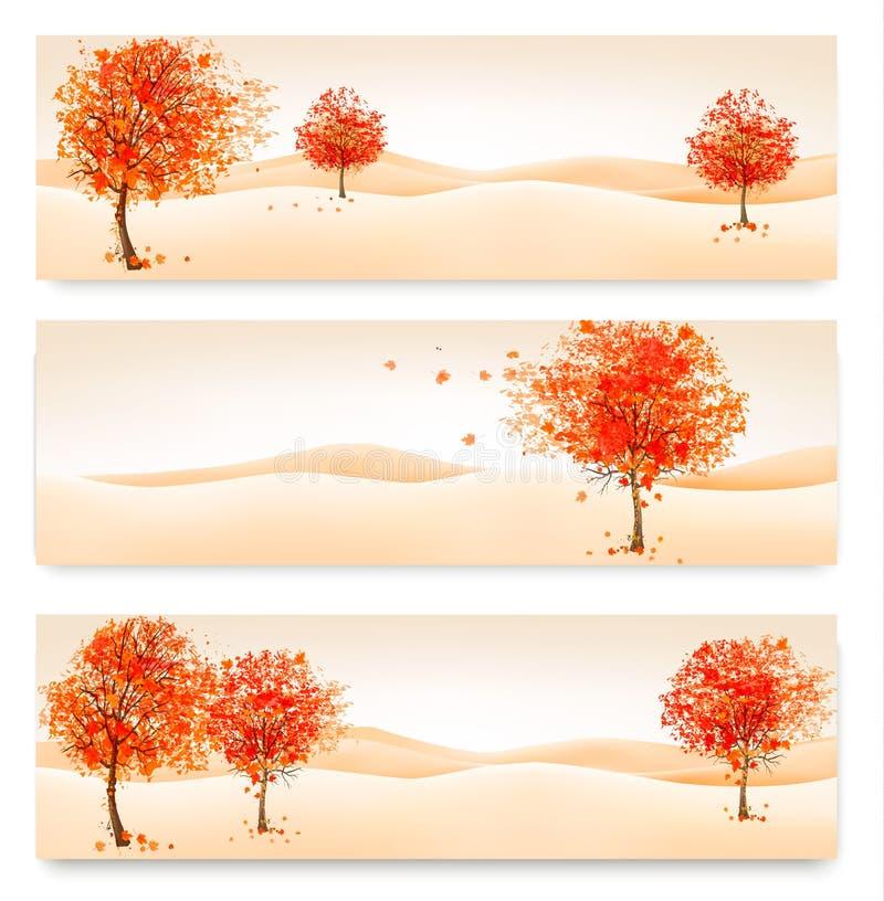 Drie de herfst abstracte banners met kleurrijke bladeren en bomen stock illustratie