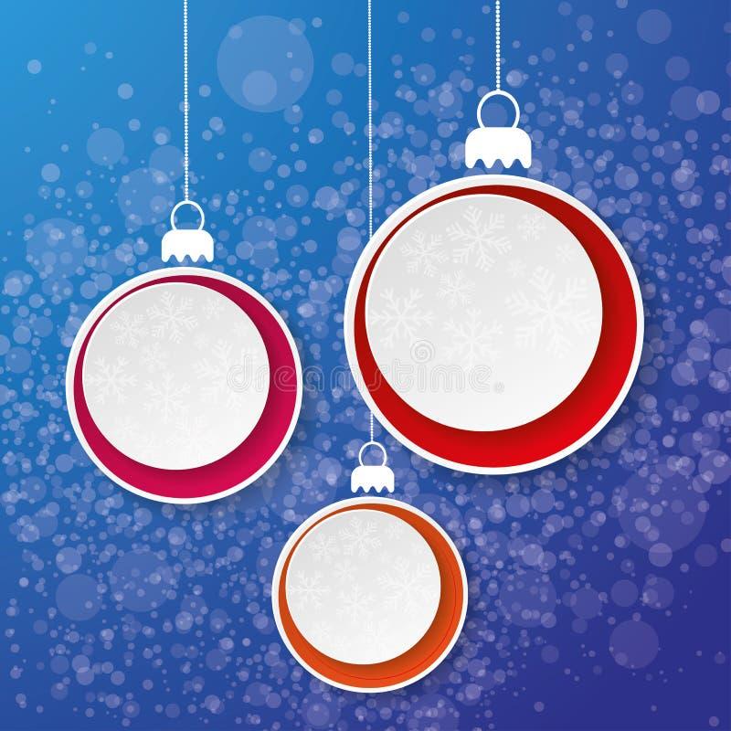 Drie de Sneeuwvlokdocument van de Kerstmissnuisterij Etiketblauw  vector illustratie