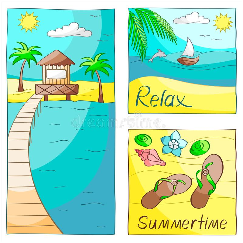 Drie de zomerkaarten stock illustratie