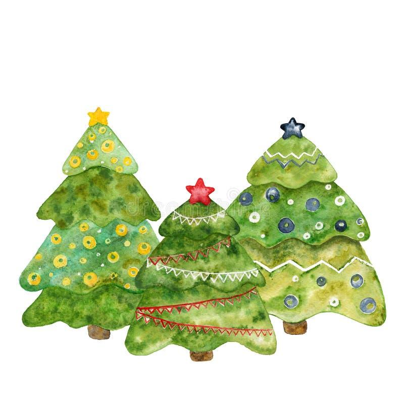 Drie decoratieve Kerstbomen Waterverfkaart vector illustratie