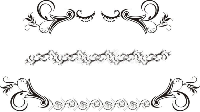 Drie decoratieve ornamenten voor frame vector illustratie