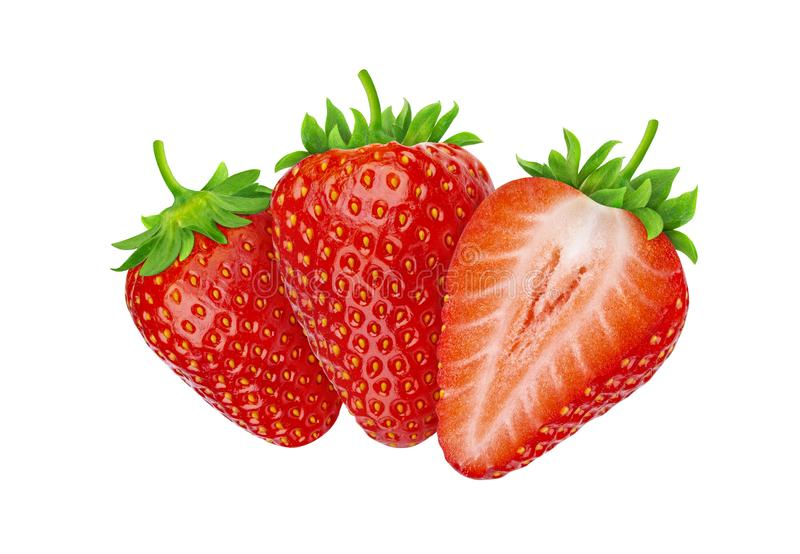 Drie die aardbeien op witte achtergrond met het knippen van weg worden geïsoleerd royalty-vrije stock afbeeldingen