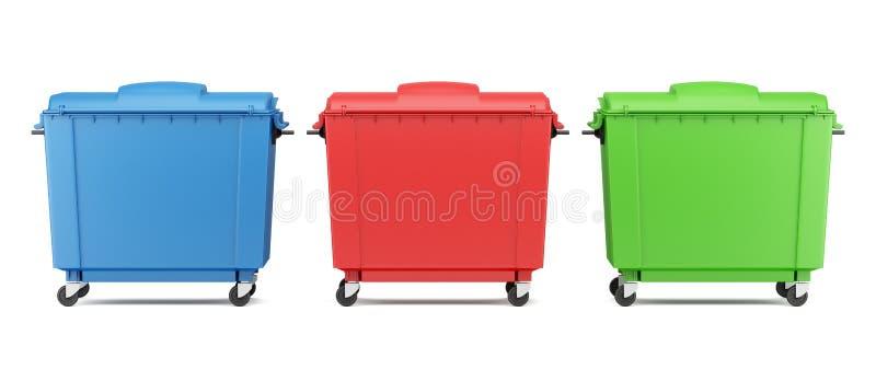 Drie die containers van het kleurenhuisvuil op wit worden geïsoleerd royalty-vrije illustratie