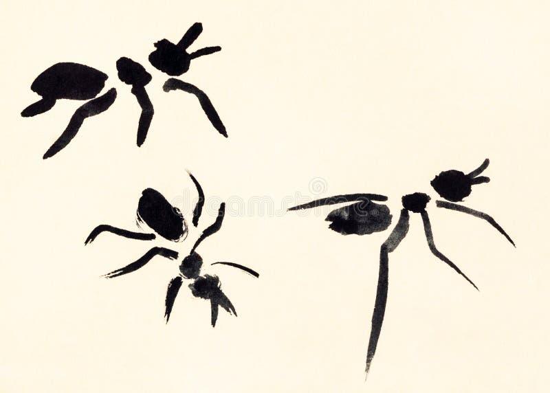 Drie die mierenhand op room gekleurd document wordt geschilderd royalty-vrije illustratie