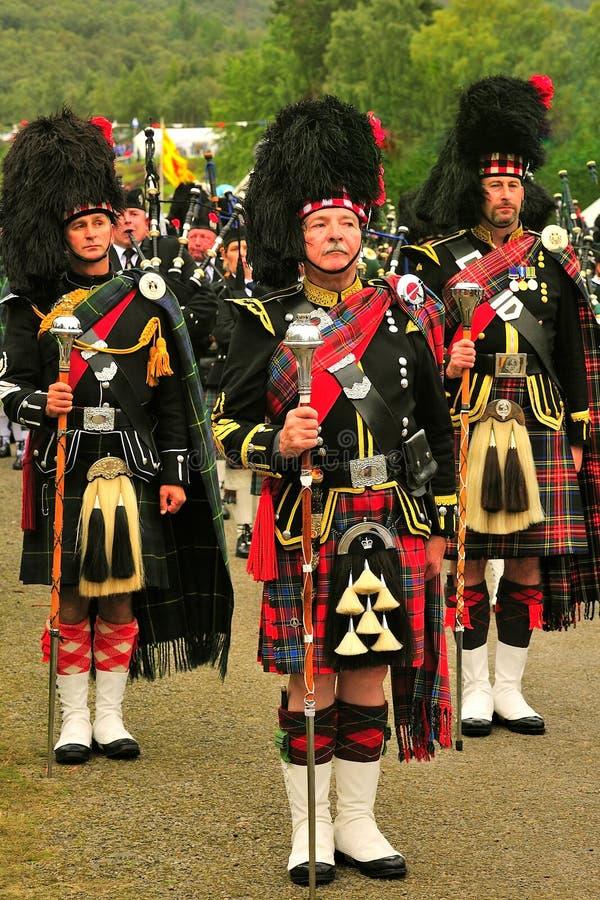 Drie Tamboer-majoors, Braemar, Schotland stock fotografie