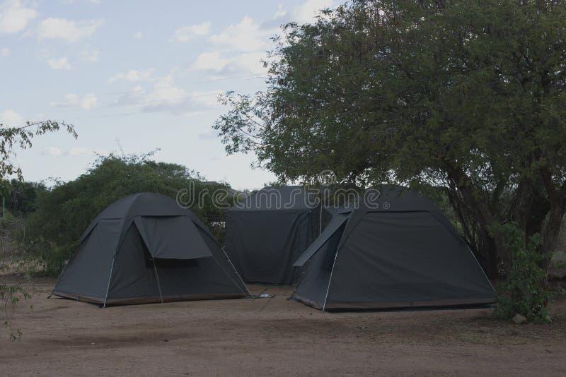 Drie die tenten in rust kamp worden opgericht royalty-vrije stock afbeelding