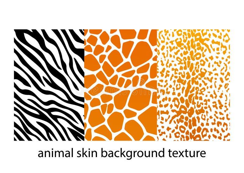 Drie dierlijke huidtexturen als achtergrond royalty-vrije illustratie