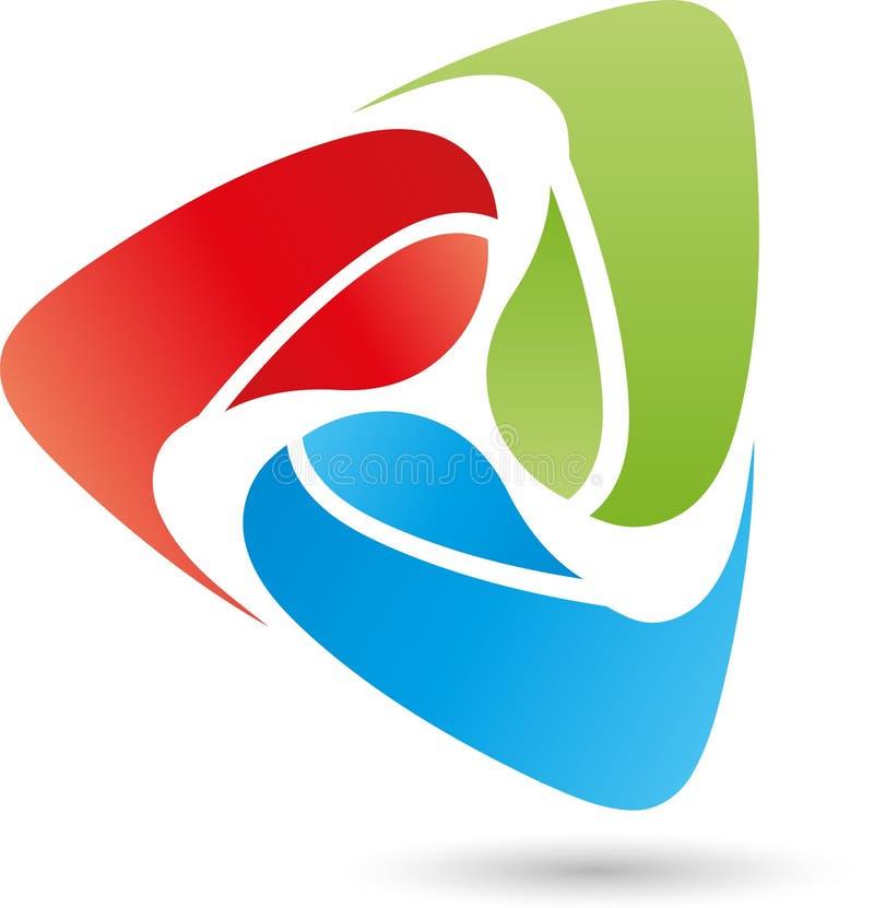 Drie digitaal gekleurde dalingen, embleem vector illustratie